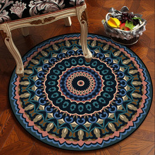 American retro Mandala carpet Wooden floor protection mat plush non-slip floor mat living room round rug custom made round mat retro window stone wall print floor rug