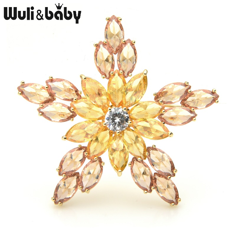 Wuli&baby Cubic Zircon Star Brooches Women Men Top Quality Sparkling Flower Weddings Banquet Brooch Pins New Year Gifts