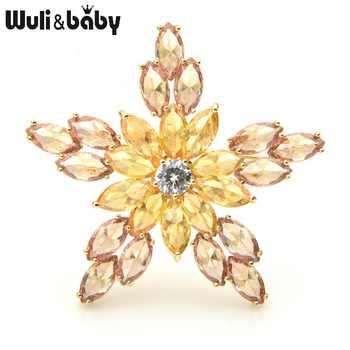 Wuli&baby Cubic Zircon Star Brooches Women Men Top Quality Sparkling Flower Weddings Banquet Brooch Pins New Year Gifts - DISCOUNT ITEM  25% OFF All Category