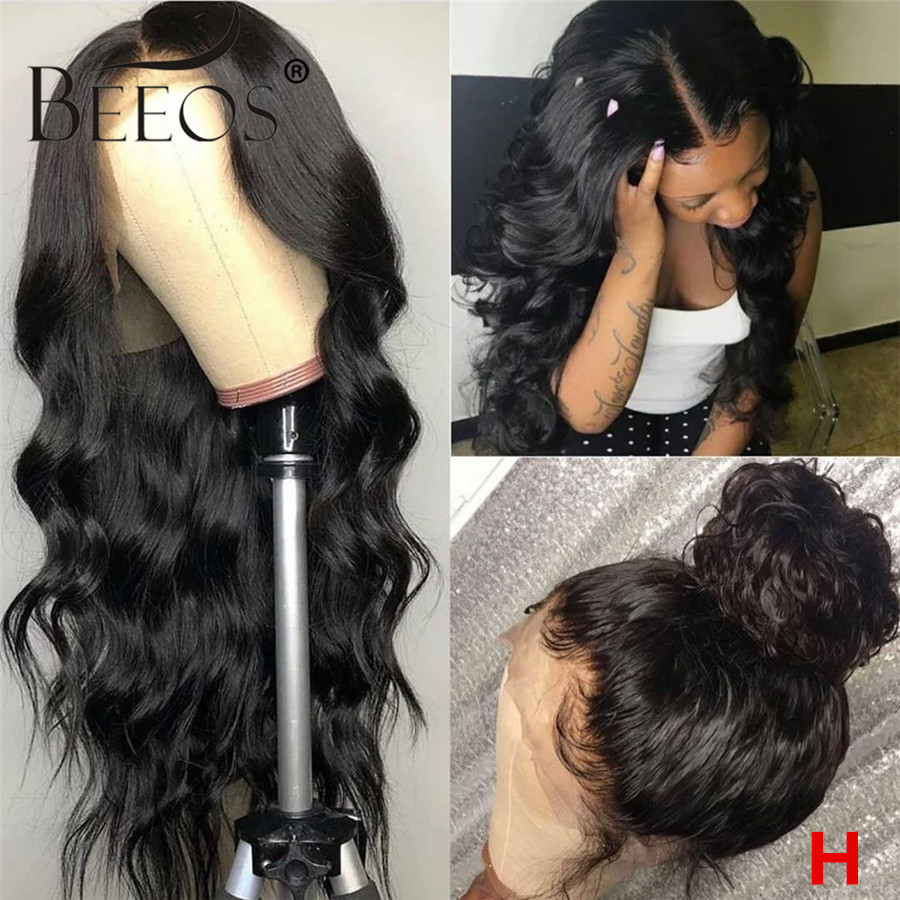 Beeos 150% Full Lace Deep Part Lace Front Human Hair Wig Wavy Wave Natural Color Bleached Knots Brazilian Remy Hair