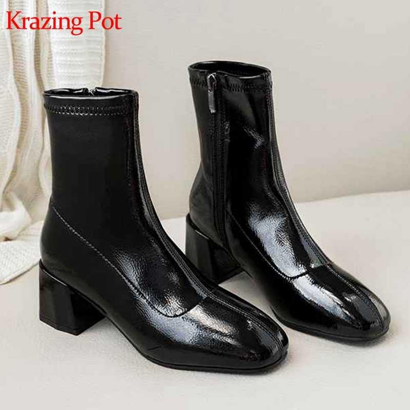 Krazing pot sıcak satış yeni patent mikrofiber kare ayak fermuar kalın yüksek topuklu kadın toptan müşteri sıcak yarım çizmeler L78