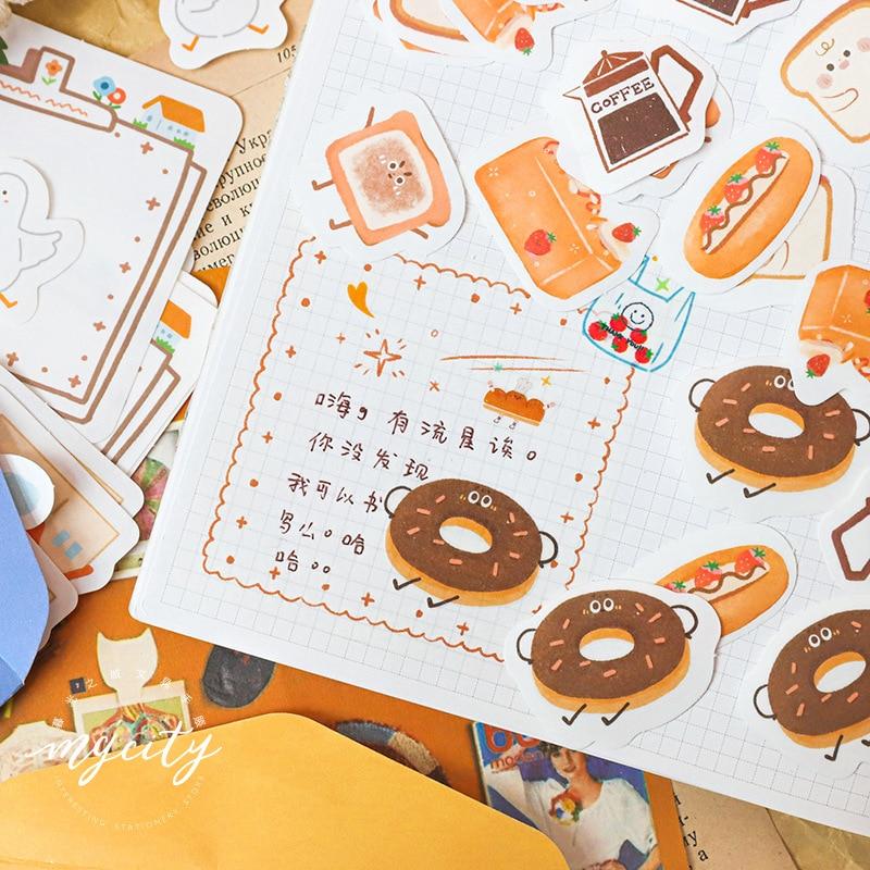 Mohamm 32 PCS Sticker Bag Hip Hop Store Series Writable Cartoon Cute Fruit Animal Bread Decorative Stationary Scrapbooking Gift