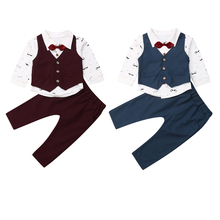 Деловой костюм для маленьких мальчиков из 4 предметов: жилет+ галстук+ рубашка с принтом+ штаны, комплект одежды