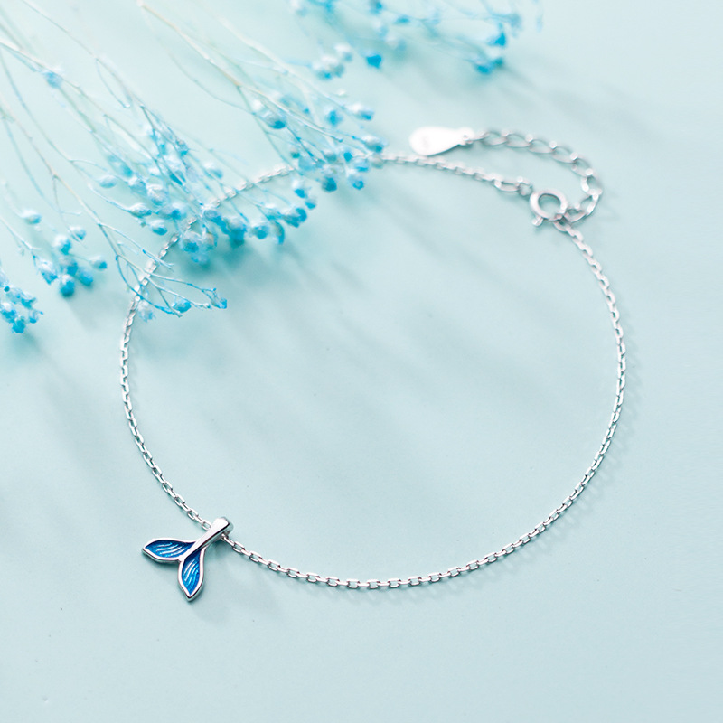 OBEAR Blue Ocean Mermaid Bracelet for Ankle  Siver Plated  Fish Tail Foot Anklets Bracelets Jewery For Women 3