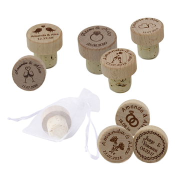 100pcs Personalized Engraved Wood Wine Stopper Laser Cork Bottle Toppers Gift stopper Wedding Party Logo Decor Favor Cheers Name