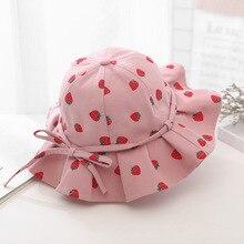 Summer Kids Girls Large Brimmed Fruit Print Sun Hat Baby Princess Bucket Cap Children's Accessories