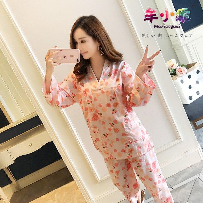 Korean-style Sweet Cute Fresh Bathrobe Winter Long Moisture-wicking Clothing Women's 100% Pure Cotton Tracksuit Pajamas Double L