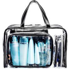 5PCS Clear Makeup Cosmetic Tote Bag Set PVC Pouch Handle Strap Storage Travel Luggage Bags drawing strap design gadgets storage nylon bag pouch set watermelon red 4 pcs