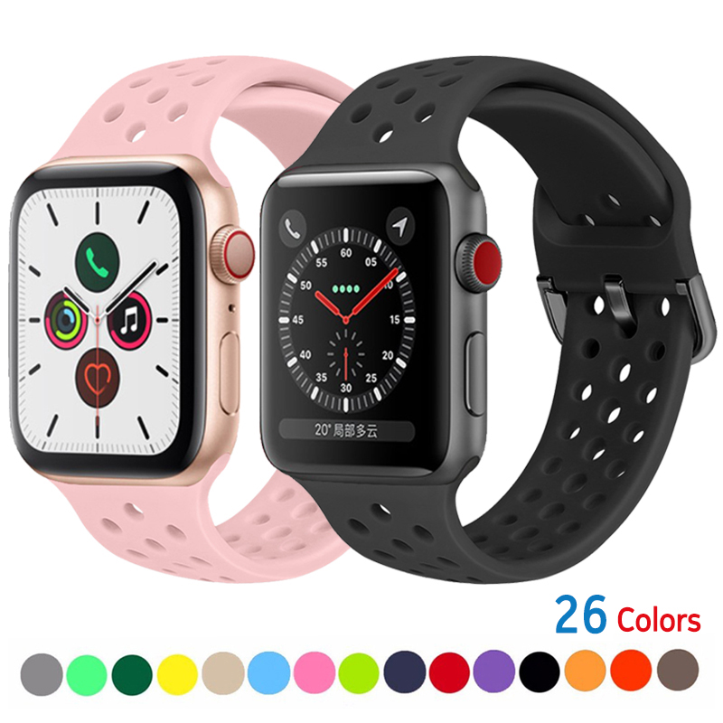 Strap For Apple Watch Band 38mm 42mm IWatch 4 Band 44mm 40mm Sport Silicone Belt Bracelet For Apple Watch Series 5 4 3 2 1 Strap