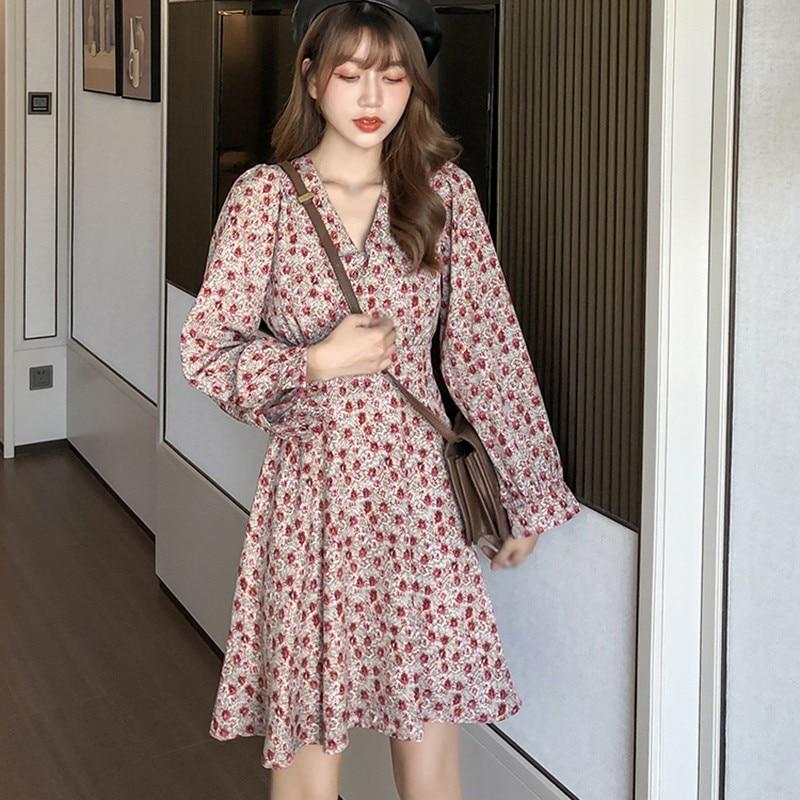 Весенне осеннее платье с длинными рукавами женские винтажные
