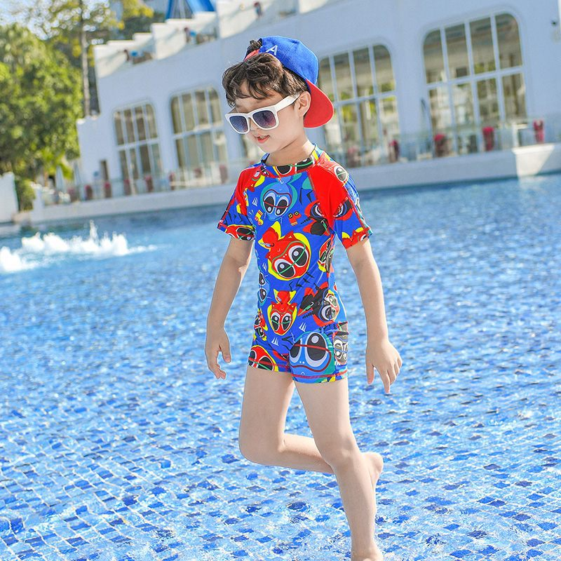 Europe And America 2019 New Style Hot Sales KID'S Swimwear One-piece Short Sleeve Shorts Cartoon With Big Eye Stand Collar BOY'S