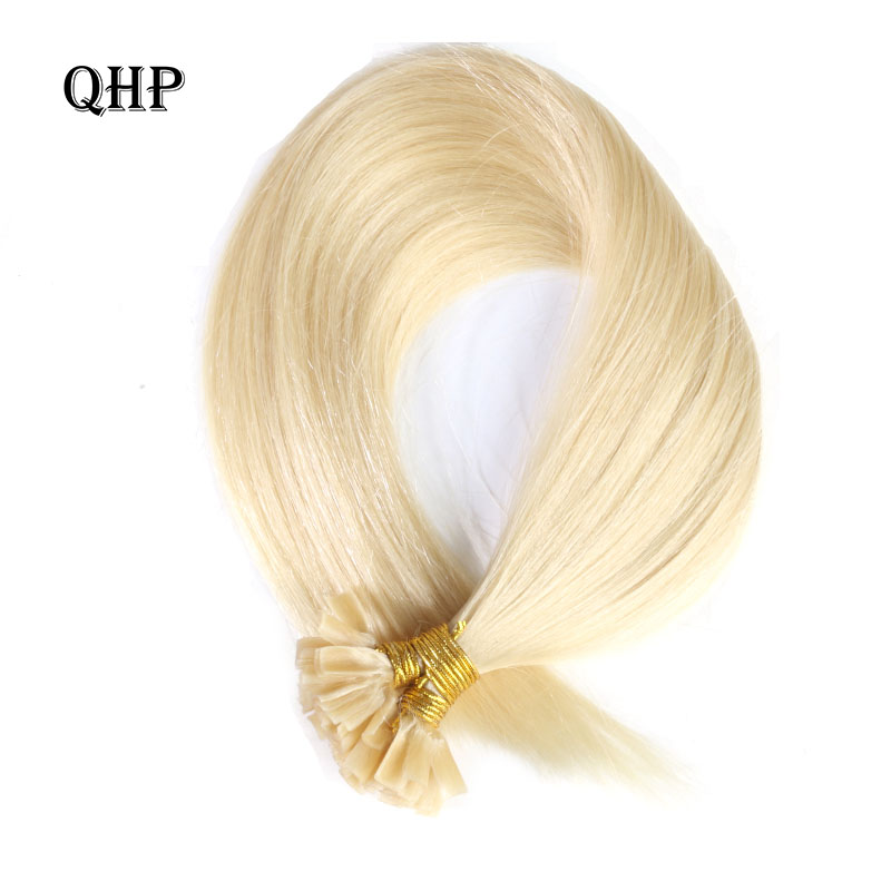 QHP Straight  Human Fusion Hair Nail U Tip Machine Made Remy Human Hair Extensions 0.8g/pcs  Muti-Color