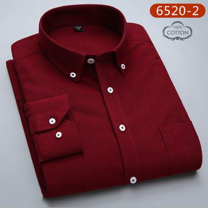 Hommes étudiants à manches longues mode bonbons couleur unie Oxford pur coton lavé Slim Fit chemises décontracté qualité grande taille - 3