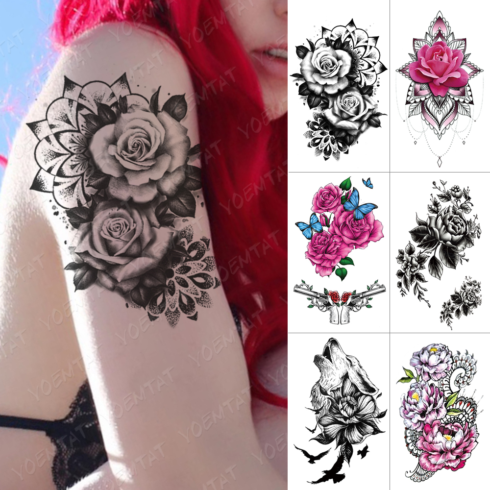 Waterproof Temporary Tattoo Sticker Rose Wolf Flower Flash Tattoos Bird Pink Mandala Henna Body Art Arm Fake Tatoo Women Men
