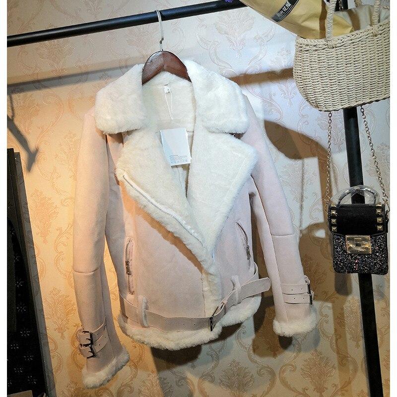 SE710 秋女性ショートオートバイのジャケットスリム厚みスエードコート女性長袖ラムズウール Sanishroly 最終割引