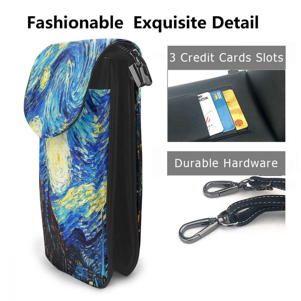 Van Gogh Starry Night Cell Phone Purse Small Crossbody Bag Smartphone Wallet Phone Holder For Women Girls