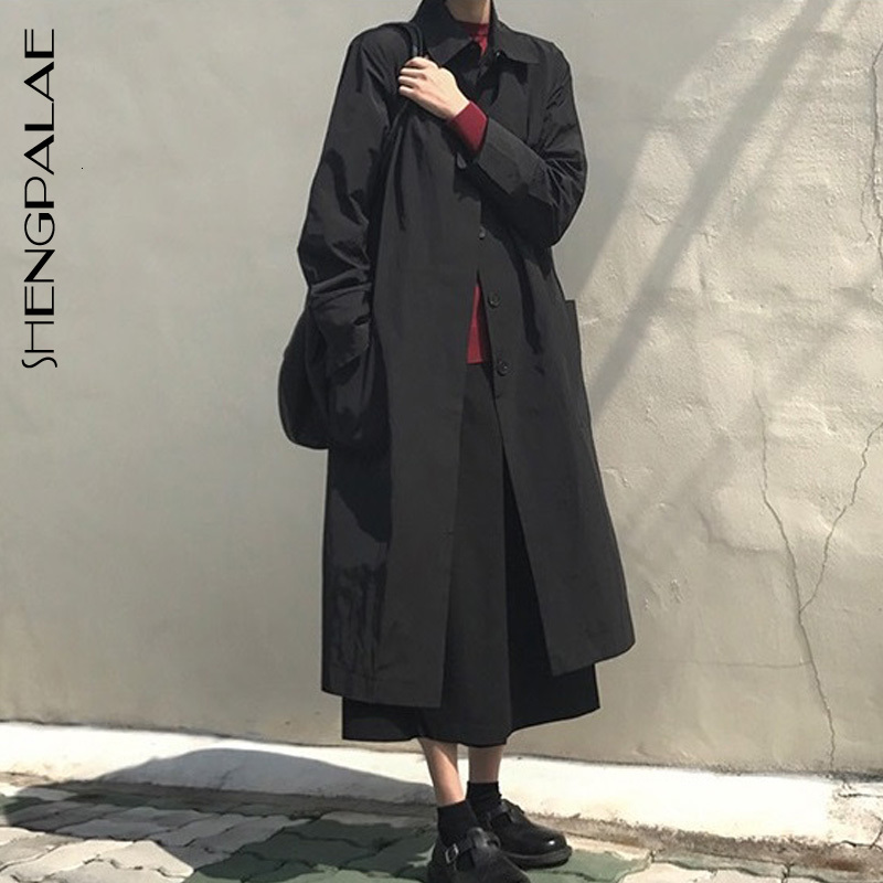 SHENGPALAE 2019 New Fashion Autumn Long Fund Lapel Solid Single Breasted Overcoat Women Loose Casual Korean   Trench   Coat FV075