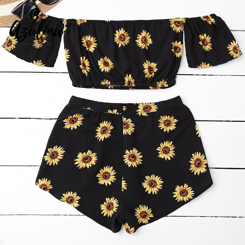 Casual 2 Two Piece Set Women Sunflower Print Summer Off The Shoulder Crop Top Shorts Zipper 2018 Beachwear Women Set