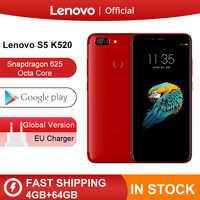 Global ROM Lenovo S5 K520 4 GB 64 GB Snapdragon 625 Octa core 13MP trasera doble Cam 16MP cámara frontal cara de Smartphone 4 K