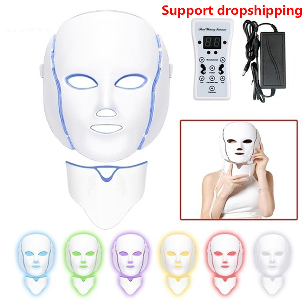 Dropshipping Led Facial Mask Photon Electric LED Mask With Neck Light Therapy Beauty Treatment Salon Home Use Skin Care Tools