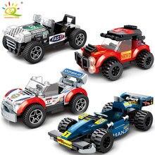 HUIQIBAO ciudad velocidad campeones de bloques de construcción de automóviles carreras deporte Auto Super corredores hombre bloques construcción juguetes para los niños