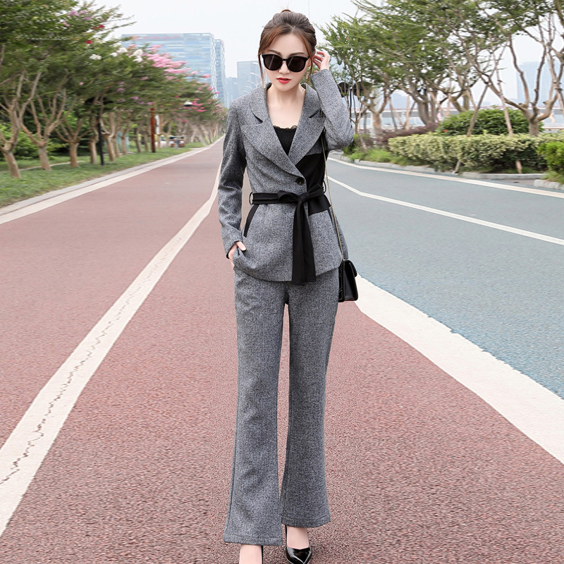 Temperament Lady Suit Autumn Long-sleeved Blazer High Quality Female Casual Wide Leg Pants Trouser Suit 2019 New Women's Suit