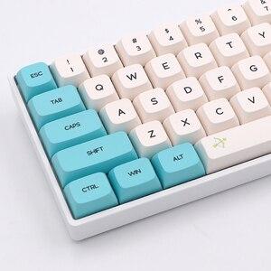 Image 1 - Keypro – capuchons de touches PBT pour clavier mécanique USB, 129 touches, par Sublimation, couleur blanche, shunyang Cyan