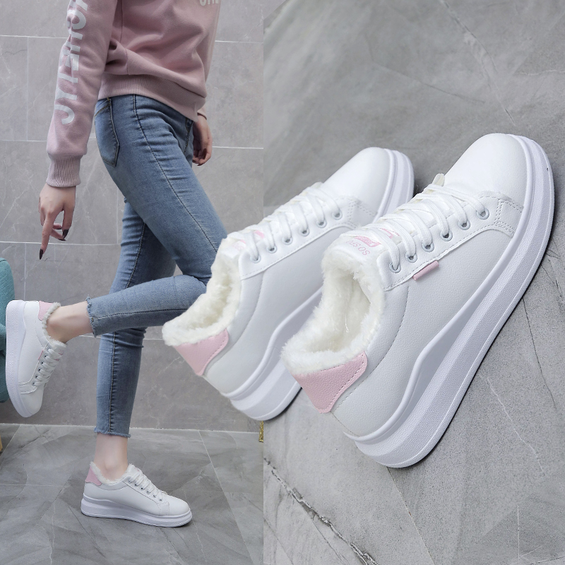 2019 New Retro Fashion Fashion Personality Shoes Casual Shoes Small White Shoes Plus Velvet Warm Sports Shoes Women's Shoes