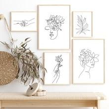 Rysunek linii plakat streszczenie kobiety obraz na płótnie kwiat dziewczyna na ścianie drukowany obraz nowoczesny obraz do salonu Home Decor