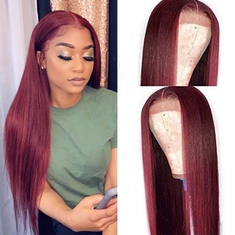 Burgundy Red Human Hair Wig 13x6 Deep Part Wig Glueless Preplucked With Baby Hair Silk Straight 99J Brazilian Remy Hair