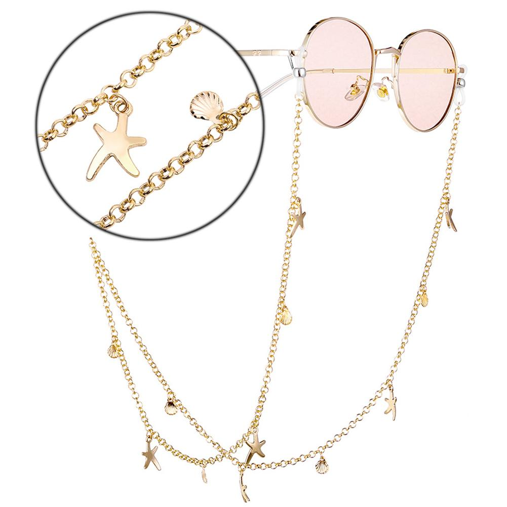 Ins Super Fire Starfish Shell Glasses Chain Hanging Neck Gold-Plated Glasses Chain Neck Strap With Accessories Eyeglass Chain