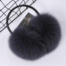 Натуральный мех лисы енота теплые зимние наушники головные уборы