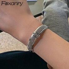 Foxanry – Bracelet Punk Vintage en argent Sterling 925 pour femmes, nouvelle mode, maille créative, motif cœur, fait à la main, bijoux de fête, cadeaux