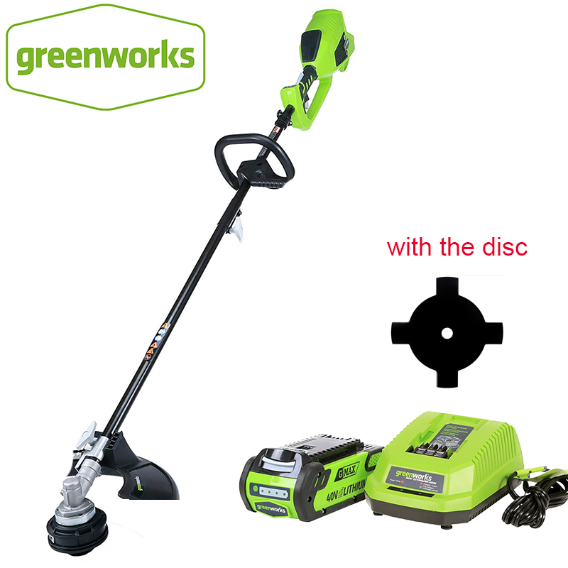 GreenWorks brushless motor 800W powerful Grass Trimmer G-MAX 40V 14-Inch Cordless String Trimmer 4Ah Battery  Charger Included