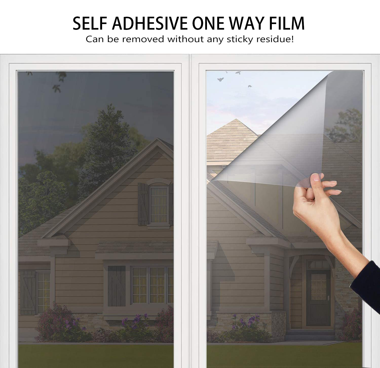 One Way Mirror Window Film Privacy Self-Adhesive Reflective Window Tint Heat Control Anti-UV Glass Stickers for Home Office 3