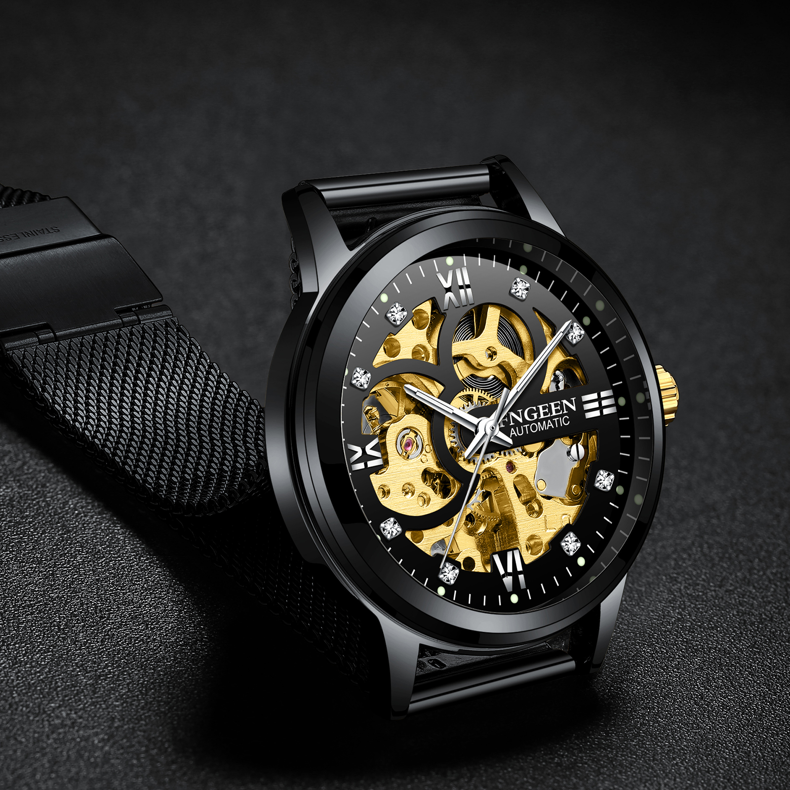 FNGEEN Mechanical Watches Sport Gold Watch Classic Mens Watches Top Brand Luxury Skeleton Man Clock Men Automatic Wristwatch