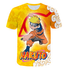 2021 Summer New Children's T-shirt Boy/Girl Short-Sleeved Round Neck Shirt Oversized Harajuku Anime Cartoon Top