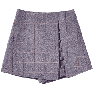 Image 5 - Mishow 2019 Spring Office Lady Shorts Skirts fashion Female Plaid Slim casual button Mini shorts MX18D2451