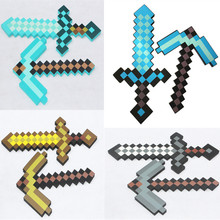 Tipo pequeno meu minecraf azul diamante espada & picareta eva brinquedo de espuma para crianças presente