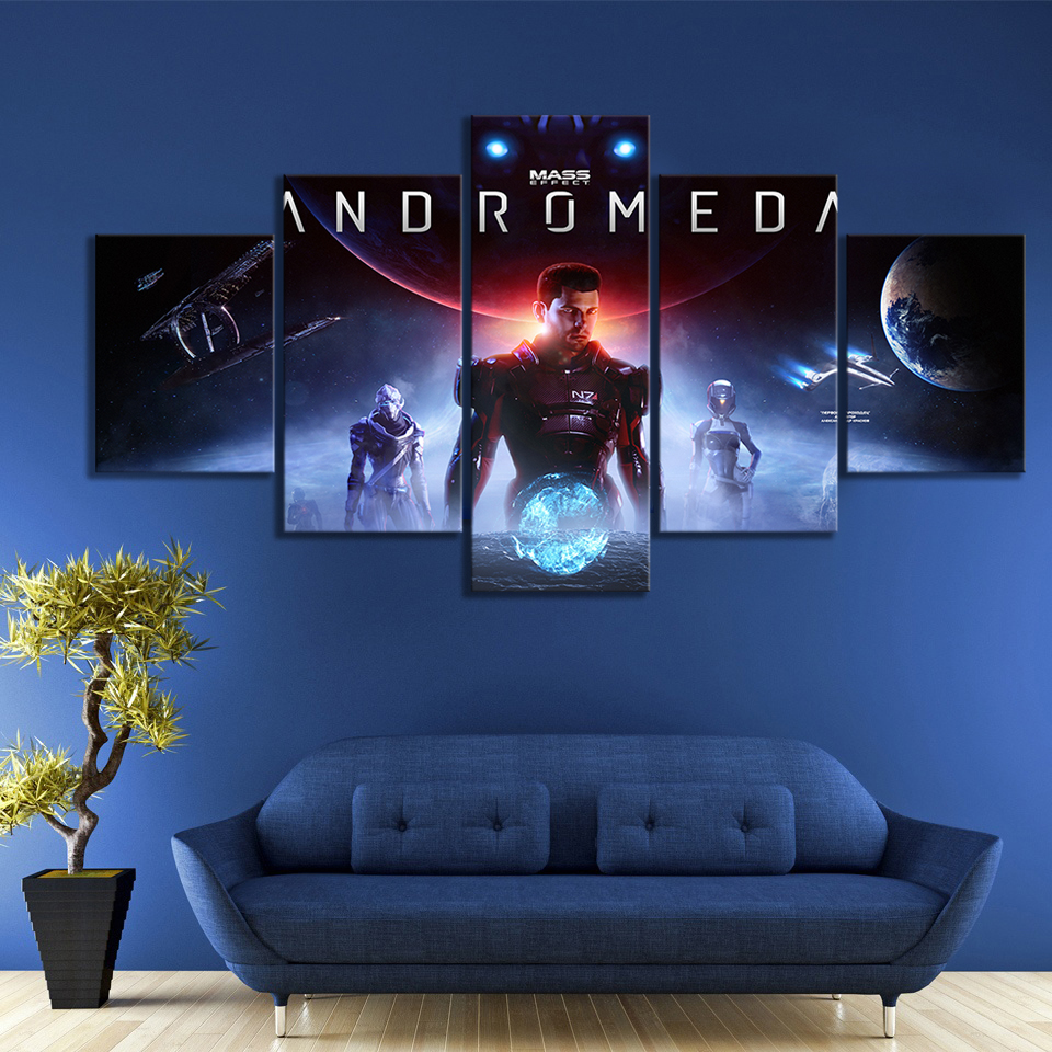 5 Panels Mass Effect Andromeda Video Games Art HD Wall Picture Canvas Paintings Fantasy Wall Art for Home Decor image