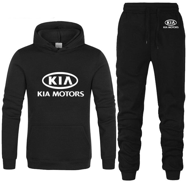 Hoodies Men KIA Car Logo Printed Unisex Sweatshirt Fashion Men Hoodie Hip Hop Harajuku Casual Fleece Hoodies Pants Suit 2Pcs