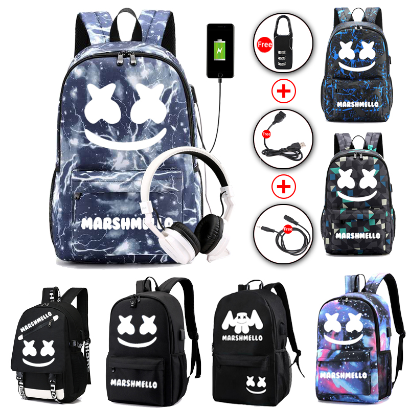 Luminous DJ Marshmallow School Bag For Teenager Student Backpack Can USB Charging  Anti-theft Laptop Rucksack For Boys Girls
