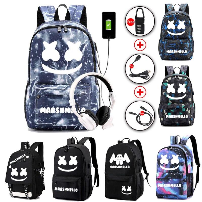 Luminous DJ Marshmallow School Bag For Teenager Student Backpack Can USB Charging  Anti-theft Laptop Rucksack For Boys Girls