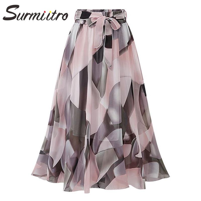 Surmiitro Long Skirt Women For 2020 Spring Summer Fashion Boho Ladies Korean White Black Chiffon High Waist Maxi Skirt Female