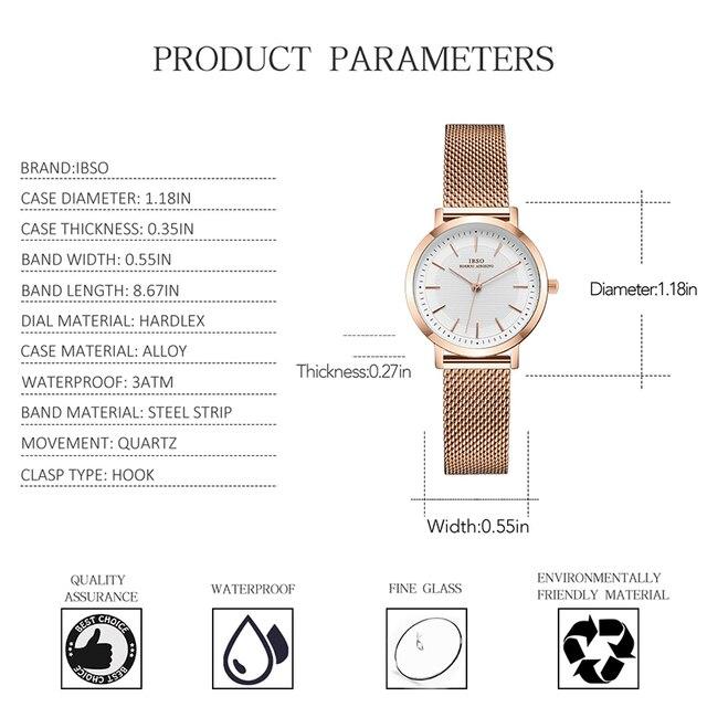 IBSO montres femmes mode Sport boîte en acier inoxydable bracelet en cuir montre Quartz affaires montre-bracelet nouveau design