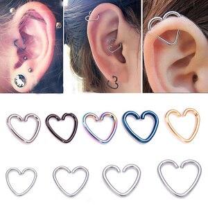 10 pçs coração/estrela em forma de falso tragus piercings aro helix cartilagem tragus daith orelha studs lábio nariz anéis piercing jóias