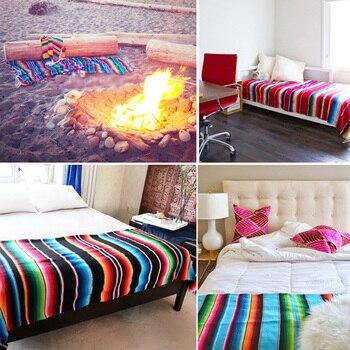 Ethnic Rainbow Striped Beach Towel Bohemia Mexican Navajo Serape Blanket Multifunctional Bathroom Towel/tablecloth/Sofa Towel 3