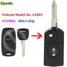 Улучшенная флип карта памяти с 2 кнопками, 433 МГц, 4D63 чип для Mazda 2, 3, 6, 2002 2005, модель Visteon No. 41803 с необработанной кнопкой
