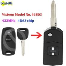 Ulepszony Flip pilot z kluczykiem samochodowym 2 przycisk 433MHz 4D63 chip dla Mazda 2 3 6 2002 2005 Visteon Model nr 41803 z niecięty klucz