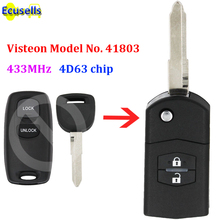 Upgraded Flip Remote Car Key Fob 2 Button 433MHz 4D63 chip for Mazda 2 3 6 2002 2005 Visteon Model No. 41803 with uncut key